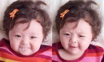 Con gái Elly Trần 'thổi bong bóng' và nhíu mày cực yêu
