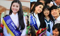 Á hậu Diễm Trang đẹp rạng ngời về thăm trường cũ sau đăng quang
