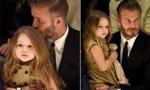 Bé Harper xinh xắn đi xem thời trang với bố mẹ