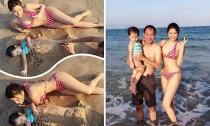 Vũ Thu Phương cùng gia đình 'quậy tưng bừng' trên biển