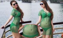 Quỳnh Thư lộ bụng to khi diện bikini trên biển Hạ Long