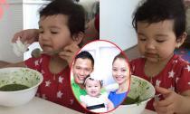 Con gái Jennifer Phạm mặt lem nhem tự xúc ăn siêu đáng yêu