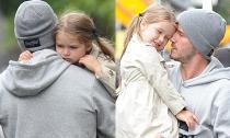 Bé Harper nũng nịu bám chặt cổ bố Becks trên phố