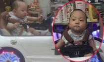 Con trai Tuấn Hưng cứng cáp khi ngồi lái 'siêu xe' đồ chơi