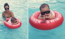Ốc Thanh Vân khoe ảnh đưa con trai út đi bơi siêu dễ thương