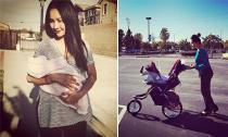Kim Hiền đẹp rạng rỡ bế con gái dưới nắng vàng