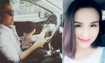 Con trai Diễm Hương sành điệu ngồi 'lái xe' với bố