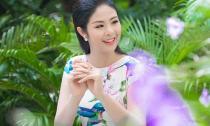 Hoa hậu Ngọc Hân xinh đẹp, thanh lịch đi làm MC