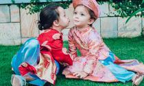 Hai con Hồng Nhung đẹp như thiên thần với áo dài