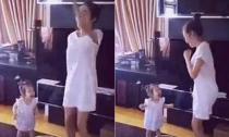 Elly Trần 'gây sốt' với clip khởi động buổi sáng cùng bé Cadie