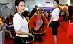 Hoa hậu Diễm Hương mang bầu 6 tháng vẫn đi giày cao chót vót