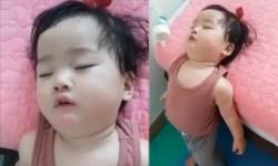 Bé gái đáng yêu với tướng ngủ cực 'bá đạo'