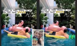 Leo lên ngồi trên phao bơi thiên nga cùng con trai, Hồ Ngọc Hà nhận cái kết 'bất hạnh'