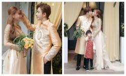 Đám cưới của ca sĩ Thu Thủy tại TP.HCM: Con trai cưng nhí nhố trong lúc mẹ và chú rể Kin Nguyễn hôn nhau