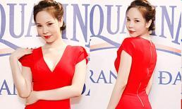 Ngọc Bích diện váy đỏ rực khoe eo thon nóng bỏng