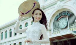 Á khôi Trịnh Thu Thảo đẹp tinh khôi với áo dài nón lá