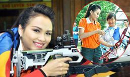 Diễm Hương khỏe khoắn tập bắn súng, giương cung