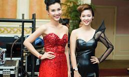 """Á hậu Hoàng Oanh """"dìm hàng"""" Đinh Hương với váy đỏ sexy"""