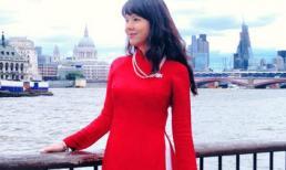 Diễm Quỳnh diện áo dài Đức Hùng đỏ rực tại London