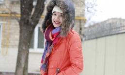 MC Diễm Quỳnh tạo dáng trẻ trung bên tuyết trắng ở Nga