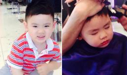 Con trai út Bằng Kiều ngủ gật khi cắt tóc cực yêu