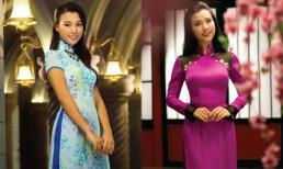 Á hậu Hoàng Oanh khoe sắc với áo dài Thái Tuấn
