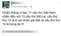 Cư dân mạng vui mừng với chiến thắng của đội tuyển Việt Nam