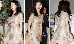 Suzy khoe eo thon cùng đôi chân nuột nà với váy chữ A