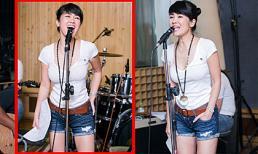 Hồng Nhung diện short cực chất tập hát Rock