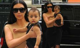 Kim 'ton sur ton' với con gái ngơ ngác giữa Paris