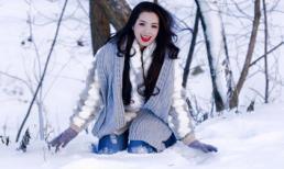 Thúy Hằng khoe sắc rạng rỡ giữa tuyết trắng