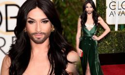 'Người đẹp có râu' khoe sắc với váy xẻ bạo tại 'Quả cầu vàng'