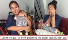 Ốc Thanh Vân vô tư 'tiếp sữa' cho con tại chỗ làm