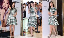 Jun Ji Huyn diện váy kẻ ngọt ngào tại sự kiện