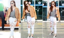 Lee Da Hae bụi bặm diện jeans rách te tua
