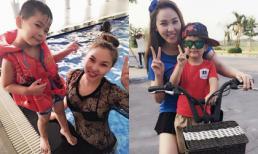 Quỳnh Thư cực tình cảm với con riêng của bạn trai