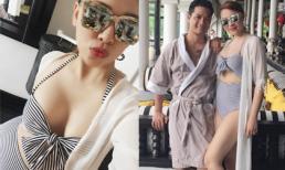 Quỳnh Thư khoe vòng một 'căng tràn' với áo tắm
