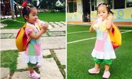 Con gái Xuân Lan hồn nhiên ti sữa giữa sân trường