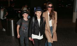 Gia đình Beckham diện thời trang sành điệu xuất hiện tại sân bay