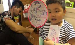 Cười ngất ngắm con trai Xuân Bắc vẽ bố giống hệt... cún