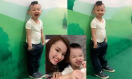 Con trai Lã Thanh Huyền tạo dáng chuyên nghiệp như mẫu nhí