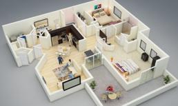 20 mẫu thiết kế nhà 3D đầy ấn tượng cho căn hộ 2 phòng ngủ