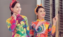 Xuân Nguyễn đẹp mượt mà với áo dài hoa cùng Á hậu Kim Duyên