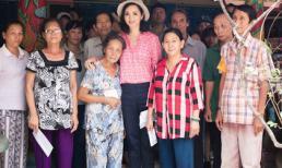 Hoa hậu Đền Hùng Giáng My giản dị đi làm từ thiện