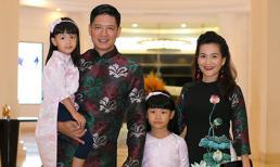 Gia đình Bình Minh đồng loạt diện áo dài cách tân đi sự kiện