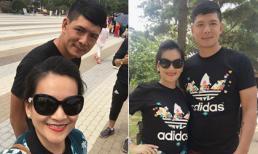 Vợ chồng Bình Minh diện áo đôi du hí Hàn Quốc