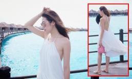 Á hậu Tú Anh mặc đầm gợi cảm, khoe lưng trần trên đảo Maldives