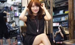 Nhật Thuỷ nhí nhảnh tạo dáng tại Hair Bar Tuấn Còi