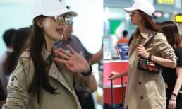 Lâm Chí Linh mặc áo khoác ấm áp giữa mùa hè ở sân bay