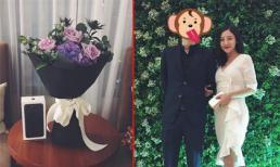 Văn Mai Hương bất ngờ khi được bạn trai tặng hoa và iphone 7